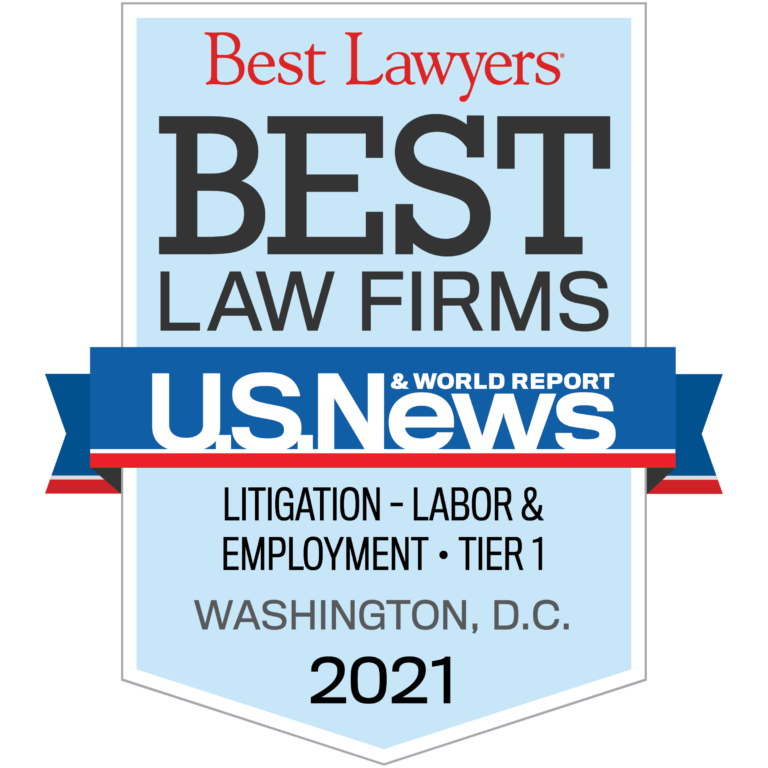 Image of Zuckerman Law receives first tier ranking for Labor & Employment litigation in Washington, DC